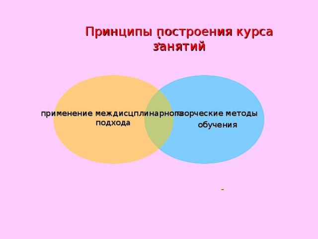 : Принципы построения курса занятий применение междисцплинарного  подхода творческие методы обучения -