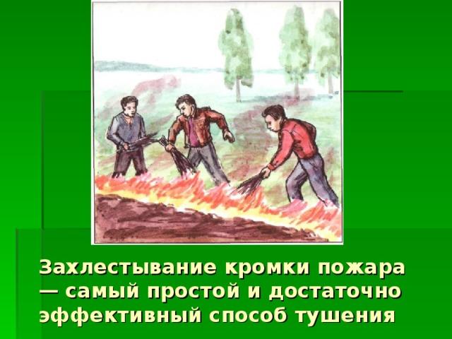 Захлестывание кромки пожара — самый простой и достаточно эффективный способ тушения