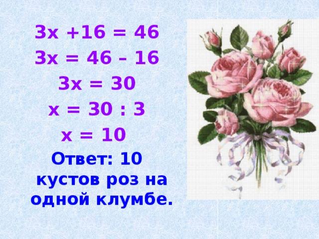 3x +16 = 46 3x = 46 – 16 3x = 30 x = 30 : 3 x = 10 Ответ: 10 кустов роз на одной клумбе.