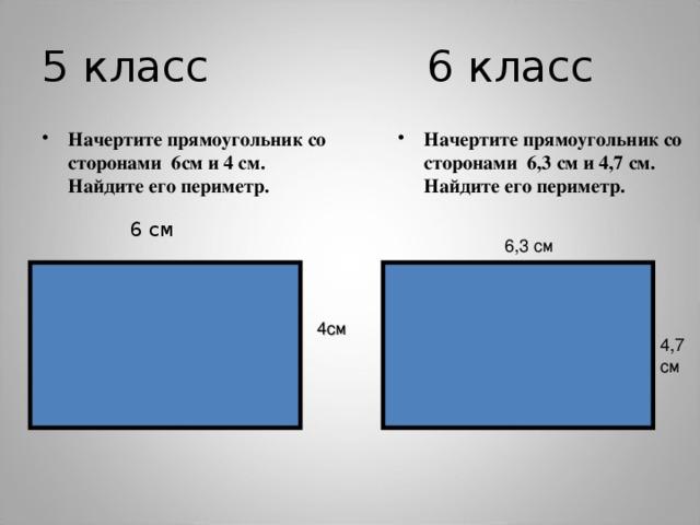 5 класс 6 класс Начертите прямоугольник со сторонами 6см и 4 см. Найдите его периметр. Начертите прямоугольник со сторонами 6,3 см и 4,7 см. Найдите его периметр.   6 см 6,3 см 4см 4,7 см