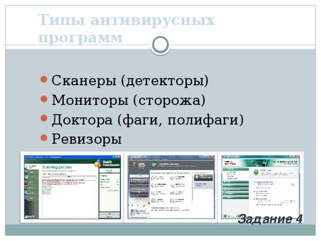 Типы антивирусных программ Сканеры (детекторы) Мониторы (сторожа) Доктора (фаги, полифаги) Ревизоры Задание 4