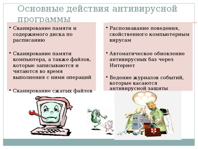 Основные действия антивирусной программы
