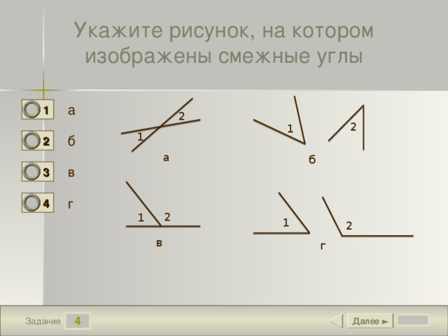 Укажите рисунок, на котором изображены смежные углы а 1 0 2 2 1 1 б 2 0 а б в 3 1 г 4 0 2 1 1 2 в г 4 Далее ► Задание
