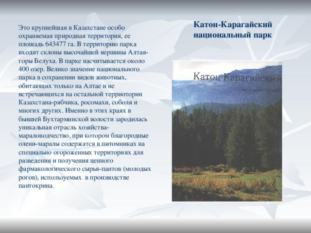 Катон-Карагайский национальный парк Это крупнейшая в Казахстане особо охраняемая природная территория, ее площадь 643477 га. В территорию парка входят склоны высочайшей вершины Алтая-горы Белуха. В парке насчитывается около 400 озер. Велико значение национального парка в сохранении видов животных, обитающих только на Алтае и не встречающихся на остальной терриотории Казахстана-рябчика, росомахи, соболя и многих других. Именно в этих краях в бывшей Бухтарминской волости зародилась уникальная отрасль хозяйства-мараловодчество, при котором благородные олени-маралы содержатся в питомниках на специально огороженных территориях для разведения и получения ценного фармакологического сырья-пантов (молодых рогов), используемых в производстве пантокрина.