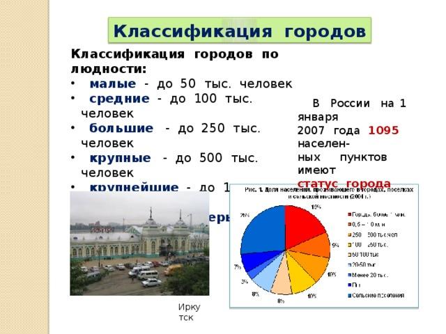 Классификация городов Классификация городов по людности:  малые - до 50 тыс. человек  средние - до 100 тыс. человек  большие - до 250 тыс. человек  крупные - до 500 тыс. человек  крупнейшие - до 1 млн. человек  города-миллионеры  В России на 1 января 2007 года 1095 населен- ных пунктов имеют статус города Иркутск