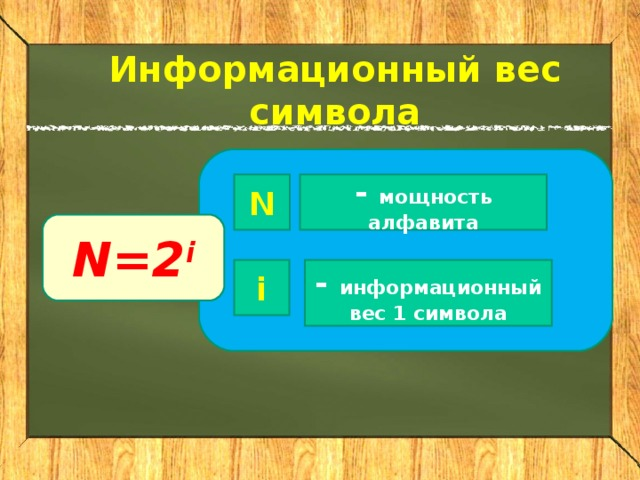 Информационный вес символа N - мощность алфавита N=2 i i - информационный вес 1 символа