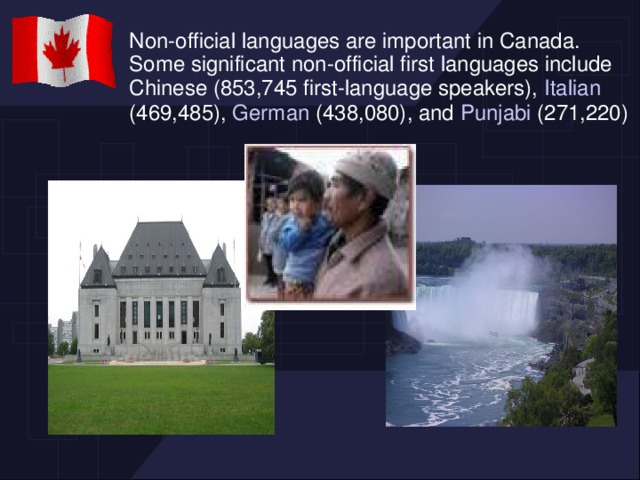 Non-official languages are important in Canada. Some significant non-official first languages include Chinese (853,745 first-language speakers), Italian (469,485), German (438,080), and Punjabi (271,220)
