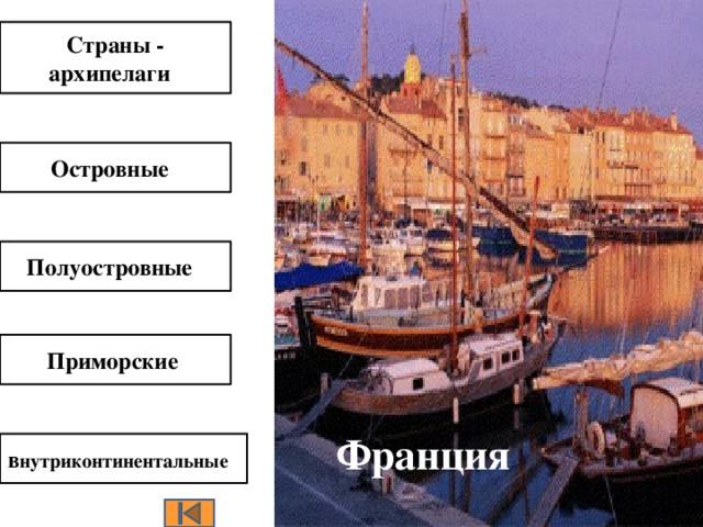 Италия  Страны - архипелаги Япония Островные  Куба  Полуостровные  Приморские  Франция в нутриконтинентальные