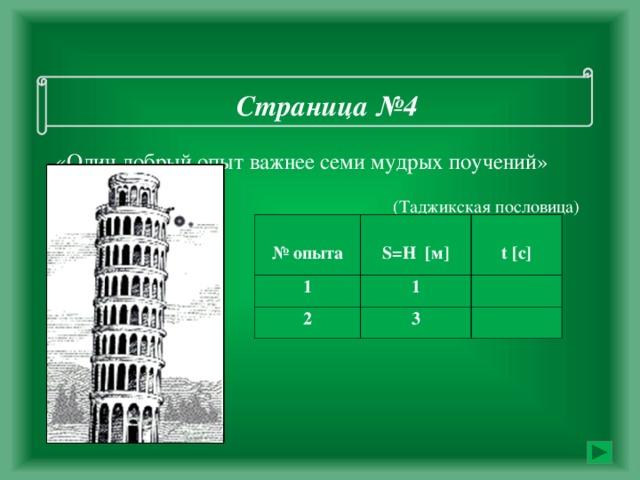 Страница №4    «Один добрый опыт важнее семи мудрых поучений»    (Таджикская пословица)     № опыта 1  S= Н [ м ]  t [ с ] 1 2 3