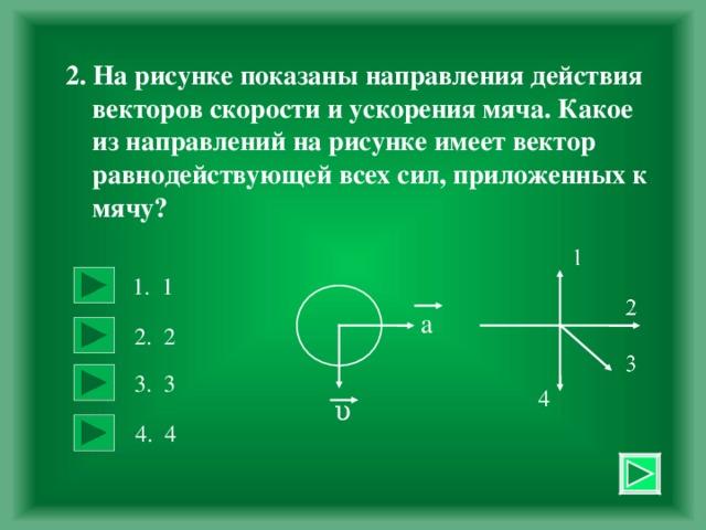 2. На рисунке показаны направления действия  векторов скорости и ускорения мяча. Какое  из направлений на рисунке имеет вектор  равнодействующей всех сил, приложенных к  мячу? 1. 1  а 2. 2  3. 3  4 υ 4. 4