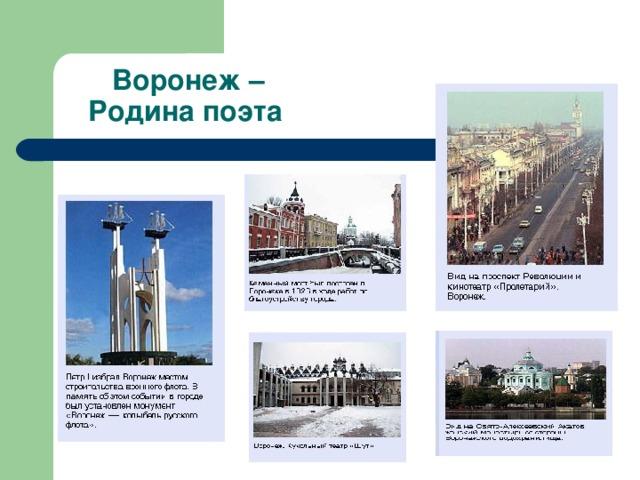 Воронеж –  Родина поэта