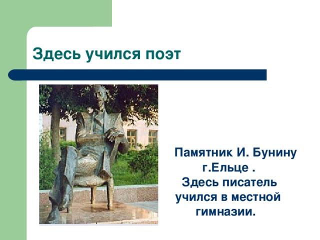 Памятник И. Бунину  г.Ельце .  Здесь писатель  учился в местной  гимназии.