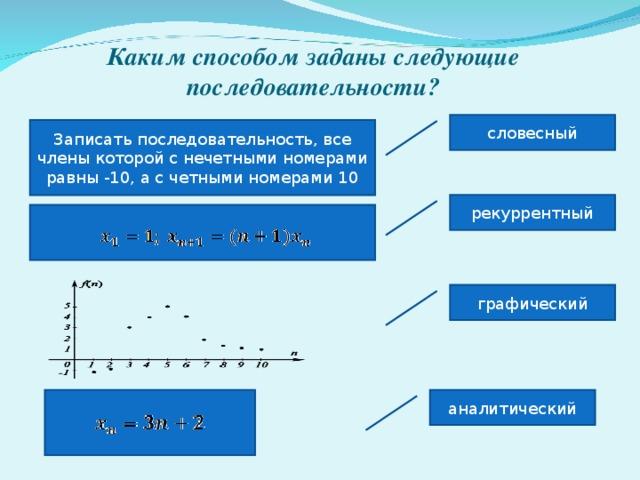 Каким способом заданы следующие последовательности? словесный Записать последовательность, все члены которой с нечетными номерами равны -10, а с четными номерами 10 рекуррентный графический аналитический