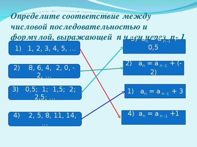 Определите соответствие между числовой последовательностью и формулой,  выражающей n член через n - 1 член 3) a n = a n -1 + 0,5  1) 1, 2, 3, 4, 5, … 2) a n = a n -1 + (-2) 2) 8, 6, 4, 2, 0, - 2, … 1) a n = a n -1 + 3 3) 0,5; 1; 1,5; 2; 2,5; … 4) a n = a n -1 +1 4) 2, 5, 8, 11, 14,…