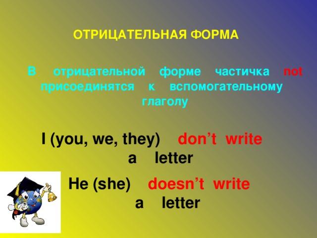 ОТРИЦАТЕЛЬНАЯ ФОРМА В отрицательной форме частичка not  присоединятся к вспомогательному глаголу I (you, we, they) don't write   a letter He (she) doesn't write   a letter
