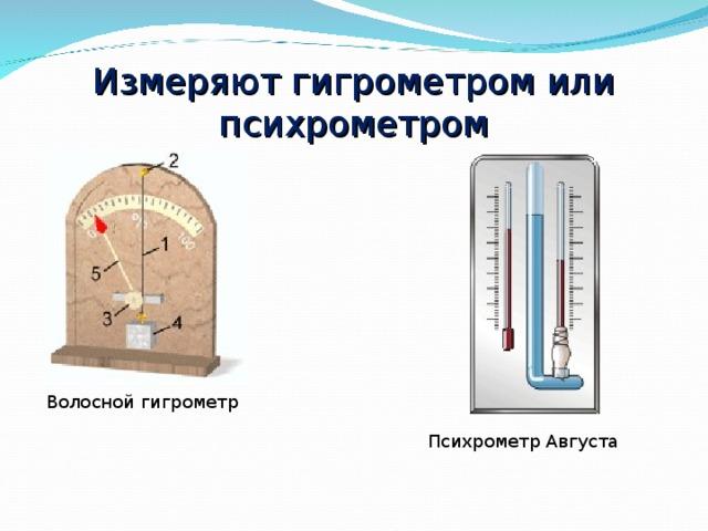 Измеряют гигрометром или психрометром Волосной гигрометр Психрометр Августа