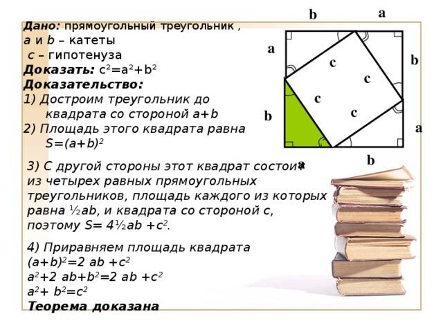 а с с b Дано: прямоугольный треугольник , а и b – катеты  с – гипотенуза Доказать: с ² =а ² + b² Доказательство: 1) Достроим треугольник до квадрата со стороной а+b  2) Площадь этого квадрата равна S =( a + b ) 2   а b с с b а b а 3) С другой стороны этот квадрат состоит из четырех равных прямоугольных треугольников, площадь каждого из которых равна ½ ab , и квадрата со стороной с, поэтому S = 4 ½ ab +с 2 .  4) Приравняем площадь квадрата ( a + b ) 2 =2 ab +с 2 а 2 +2 ab + b 2 =2 ab +с 2 а 2 + b 2 =с 2 Теорема доказана