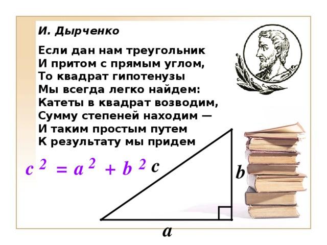 И. Дырченко Если дан нам треугольник И притом с прямым углом, То квадрат гипотенузы Мы всегда легко найдем: Катеты в квадрат возводим, Сумму степеней находим — И таким простым путем К результату мы придем
