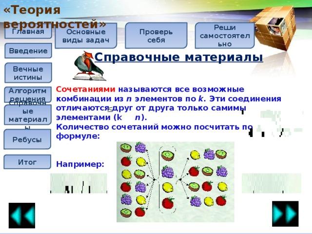 «Теория вероятностей» Реши самостоятельно Проверь себя Основные виды задач Главная Введение Справочные материалы  Вечные истины Сочетаниями называются все возможные комбинации из n элементов по k. Эти соединения отличаются друг от друга только самимы элементами (k n ). Количество сочетаний можно посчитать по формуле:   Например:  Алгоритм решения Справочные материалы Ребусы Итог
