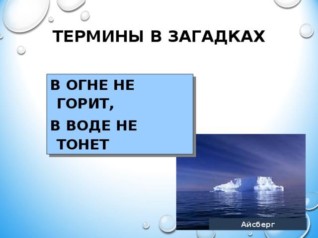 ТЕРМИНЫ В ЗАГАДКАХ В ОГНЕ НЕ ГОРИТ, В ВОДЕ НЕ ТОНЕТ   Айсберг