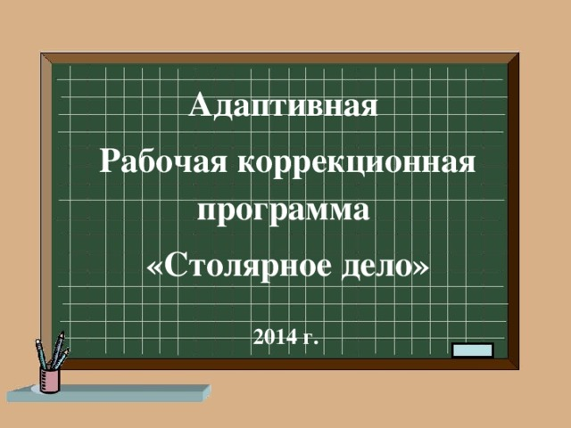 Адаптивная Рабочая коррекционная программа  «Столярное дело»  2014 г.
