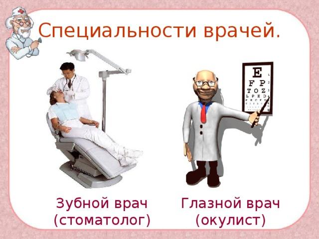 Специальности врачей. Зубной врач (стоматолог) Глазной врач (окулист)