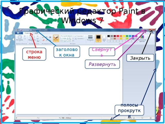 Графический редактор Paint в Windows 7 заголовок окна Свернуть строка меню Закрыть Развернуть полосы прокрутки