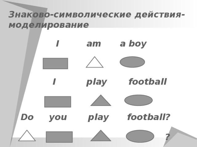Знаково-символические действия - моделирование  I am a boy  I play football Do you play football? ?