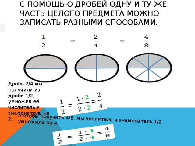 А чтобы получить 4/8, мы числитель и знаменатель 1/2 умножили на 4. С помощью дробей одну и ту же часть целого предмета можно записать разными способами.   Дробь 2/4 мы получили из дроби 1/2, умножив её числитель и знаменатель на 2.