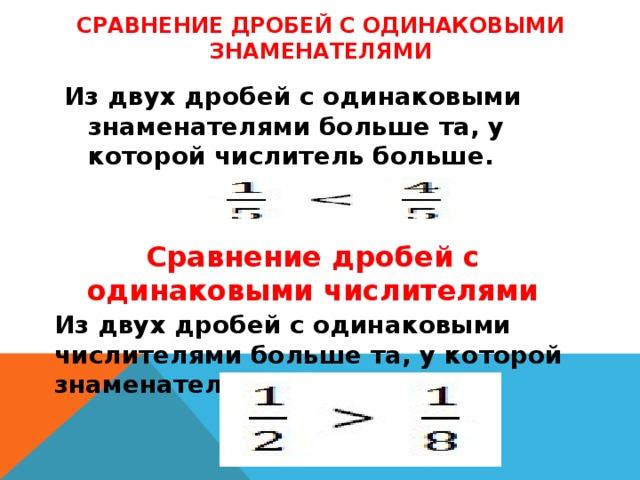 Сравнение дробей с одинаковыми знаменателями Из двух дробей с одинаковыми знаменателями больше та, у которой числитель больше.  Сравнение дробей с одинаковыми числителями Из двух дробей с одинаковыми числителями больше та, у которой знаменатель меньше.