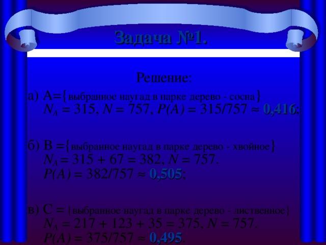 Задача №1.  Решение: а) A={ выбранное наугад в парке дерево - сосна }  N А = 315, N = 757, Р(А) = 315/757   0,416 ; б) В ={ выбранное наугад в парке дерево - хвойное }   N А  = 315 + 67 = 382, N = 757.  Р(А) = 382/757   0,505 ; в) C = { выбранное наугад в парке дерево - лиственное }  N А = 217 + 123 + 35 = 375, N = 757.  Р(А) = 375/757   0,495 .
