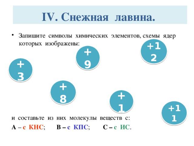 IV. Снежная лавина.   Запишите символы химических элементов, схемы ядер которых изображены: и составьте из них молекулы веществ с: А – с КНС ; В – с КПС ; С – с ИС . +12 +9 +3 +8 +1 +11
