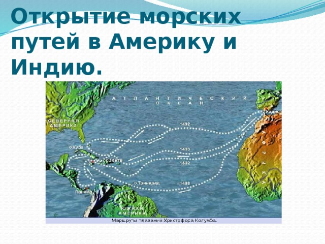 Открытие морских путей в Америку и Индию.