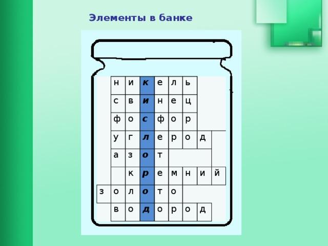 Элементы в банке н и с ф к в е у и о с а л н г ь ф з з л е о о о е ц к р р т р в л о о о е м т д д о н о и р й о д