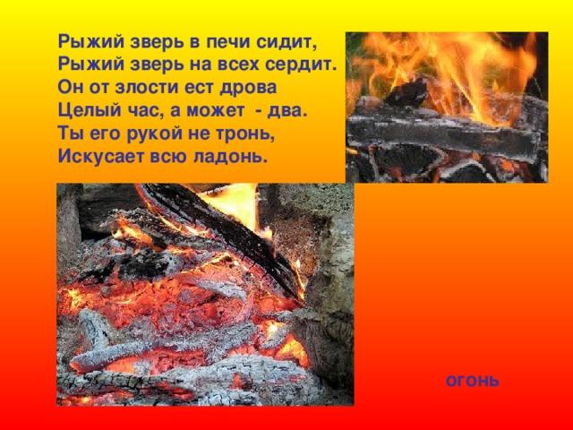 Рыжий зверь в печи сидит, Рыжий зверь на всех сердит. Он от злости ест дрова Целый час, а может - два. Ты его рукой не тронь, Искусает всю ладонь. огонь