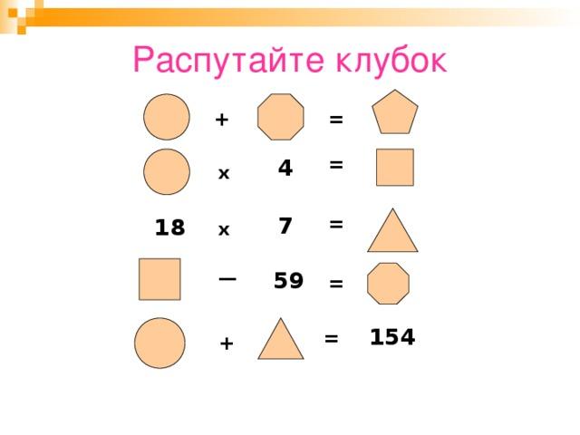 Распутайте клубок + = = 4 х = 7 18 х — 59 = 154 = +