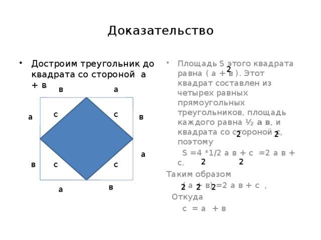 Доказательство Площадь S этого квадрата равна ( а + в ). Этот квадрат составлен из четырех равных прямоугольных треугольников, площадь каждого равна ½ а в , и квадрата со стороной с , поэтому Достроим треугольник до квадрата со стороной а + в  S =4 *1/2 а в + с =2 а в + с. Таким образом  ( а + в) =2 а в + с ,  Откуда  с = а + в 2 в а с с в а 2 2 а 2 2 в с с в 2 2 2 а