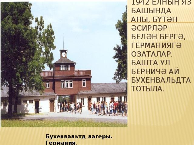 1942 елның яз башында аны, бүтән әсирләр белән бергә, Германиягә озаталар. Башта ул берничә ай Бухенвальдта тотыла. Бухенвальтд лагеры. Германия .