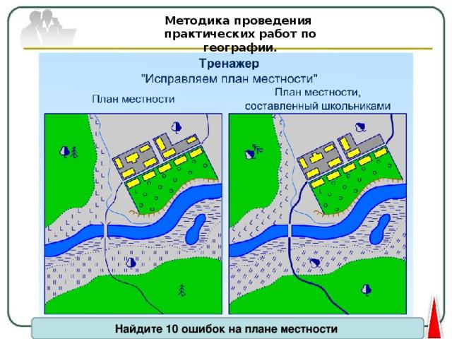 Методика проведения практических работ по географии. Найдите 10 ошибок на плане местности