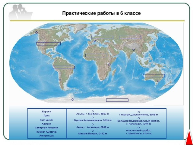 Практические работы в 6 классе Определение географических объектов на карте