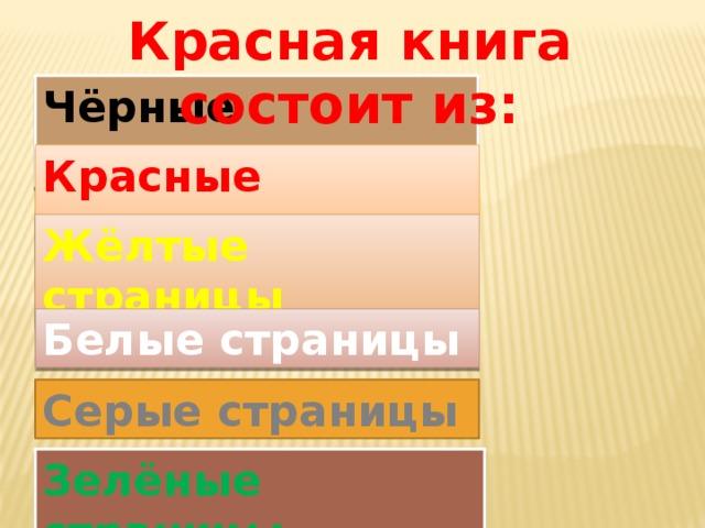 Красная книга состоит из: Чёрные страницы Красные страницы Жёлтые страницы Белые страницы Серые страницы Зелёные страницы