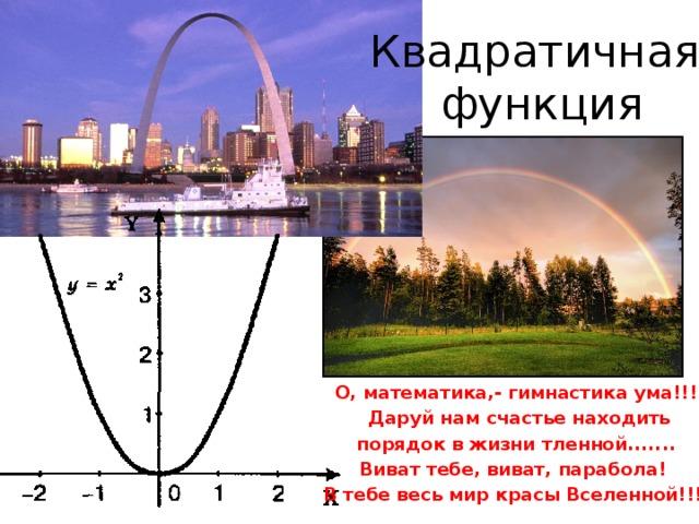 Квадратичная  функция О, математика,- гимнастика ума!!!  Даруй нам счастье находить  порядок в жизни тленной....... Виват тебе, виват, парабола! В тебе весь мир красы Вселенной!!!