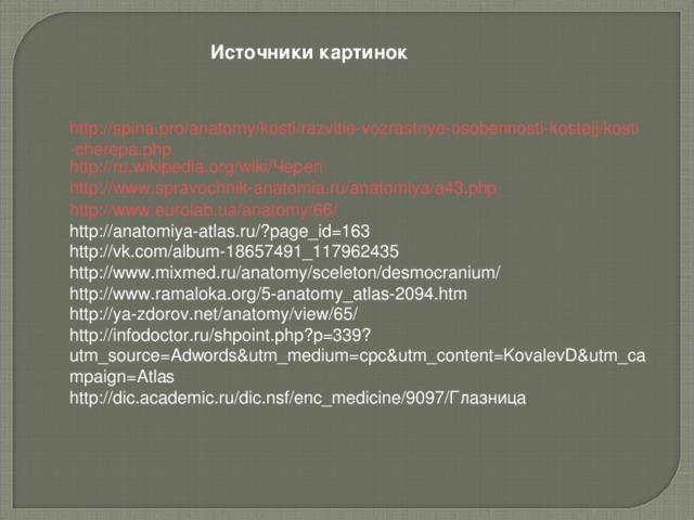 Источники картинок http://spina.pro/anatomy/kosti/razvitie-vozrastnye-osobennosti-kostejj/kosti-cherepa.php http://ru.wikipedia.org/wiki/Череп http://www.spravochnik-anatomia.ru/anatomiya/a43.php http://www.eurolab.ua/anatomy/66/ http://anatomiya-atlas.ru/?page_id=163 http://vk.com/album-18657491_117962435 http://www.mixmed.ru/anatomy/sceleton/desmocranium/ http://www.ramaloka.org/5-anatomy_atlas-2094.htm http://ya-zdorov.net/anatomy/view/65/ http://infodoctor.ru/shpoint.php?p=339?utm_source=Adwords&utm_medium=cpc&utm_content=KovalevD&utm_campaign=Atlas http://dic.academic.ru/dic.nsf/enc_medicine/9097/Глазница