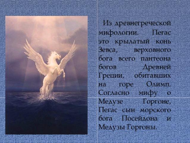 Из древнегреческой мифологии. Пегас это крылатый конь Зевса, верховного бога всего пантеона богов Древней Греции, обитавших на горе Олимп. Согласно мифу о Медузе Горгоне, Пегас сын морского бога Посейдона и Медузы Горгоны.