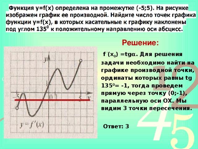 Решение: f ' (х 0 ) =tg α . Для решения задачи необходимо найти на графике производной точки, ординаты которых равны tg 135 0 = -1, тогда проведем прямую через точку (0;-1), параллельную  оси ОХ. Мы видим 3 точки пересечения.  Ответ: 3