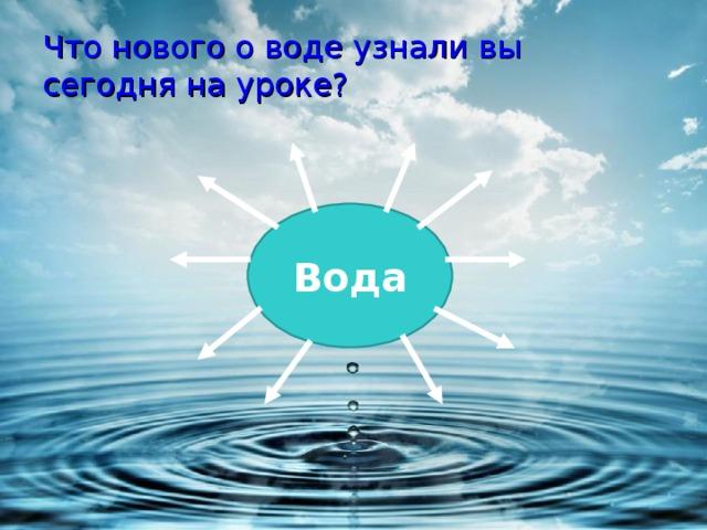 Что нового о воде узнали вы сегодня на уроке?   Вода
