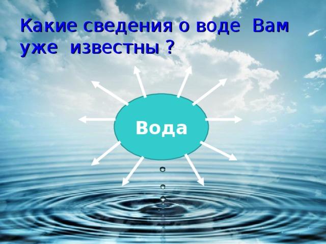Какие сведения о воде Вам  уже известны ? Вода
