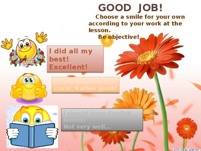 GOOD JOB!  Choose a smile for your own according to your work at the lesson.  Be objective! I did all my best! Excellent! I tried as much as I could. Rather good! I should learn English better! Not very well…