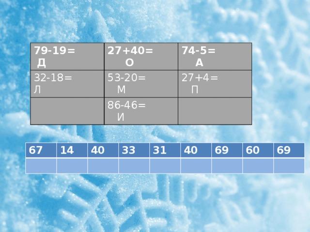 79-19= Д 27+40= О 32-18= Л 74-5= А 53-20= М 27+4= П 86-46= И 67 14 40 33 31 40 69 60 69