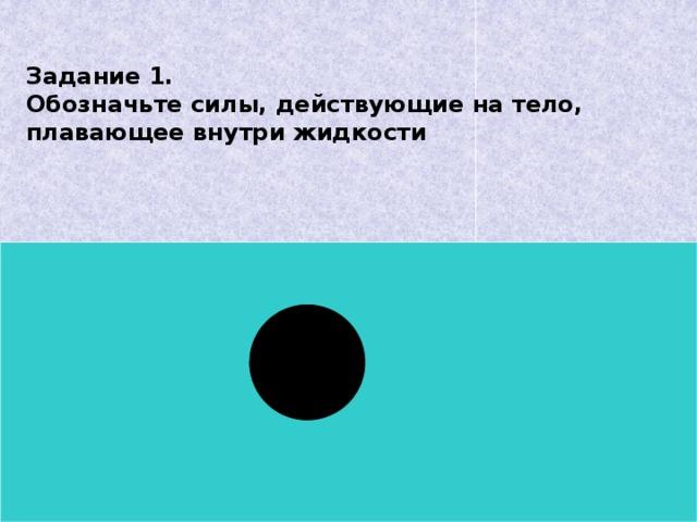 Задание 1.  Обозначьте силы, действующие на тело, плавающее внутри жидкости